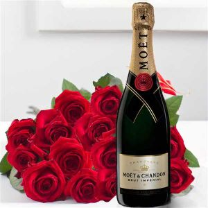 15 red roses and exclusive Sparkling wine.